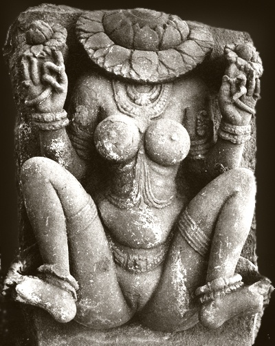 "Aditi (अदिति ""she who has no limits""), also known as Lajja Gauri, the uttānapad ""she who crouches with legs spread"". In the first age of the gods, existence was born from non-existence. The quarters of the sky were born from Her who crouched with legs spread. The earth was born from Her who crouched with legs spread. And from the earth the quarters of the sky were born. Rig Veda, 10.72.3-4"